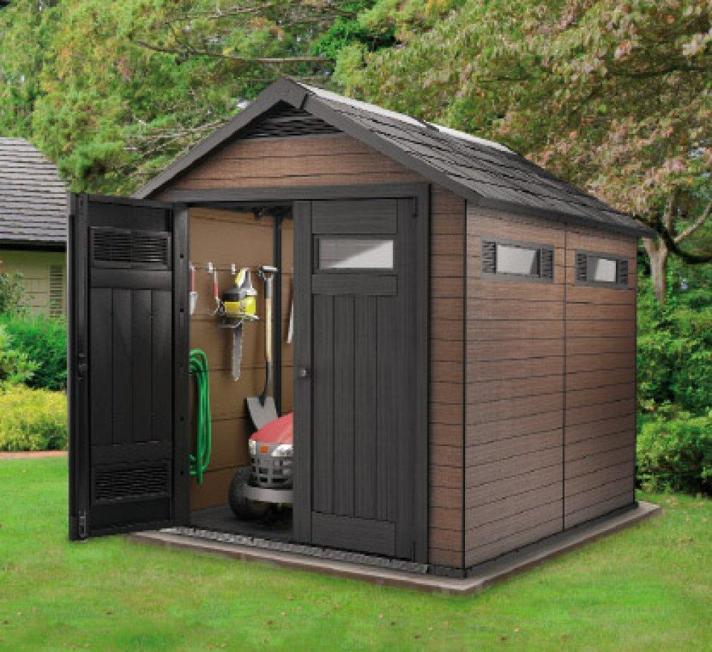 Casetta da giardino in legno plastica keter fusion 7 5x9 marrone su petrol motor - Casette da giardino in alluminio ...